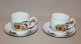 2 Cups & Saucers Evesham Gold 1961 Royal Worcester Porcelain Assorted Fruit - $9.85