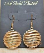 14k Gold Plated Wave Open Work Disc Dangle Drop Earrings - $19.78