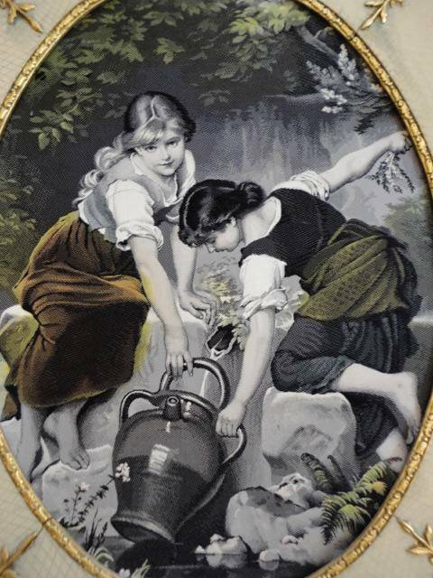 Antique Rare Framed S P Solomons Decorative Art Co. NY Tapestry Girls at Well