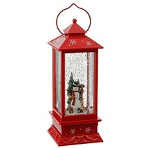 Lighted Snow Globe Lantern: 11 Inch, Red Holiday Water Lantern (Snowman) - $73.96