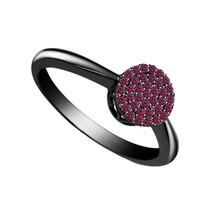 Art Deco Womens Simple Engagement Ring Pink Sapphire 14k Black Finish 92... - £57.30 GBP