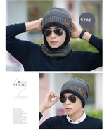 Women Knitted Hat Cap Neck Warmer Scarf Winter Hat Men Gray Fleece Head ... - $14.99