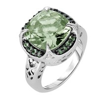 Phillip Gavriel Sterling Silver Cushion Cut Green Amethyst & Tsavorite G... - $408.15 CAD