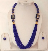 New Indian Gold Plated Blue Beads Kundan Fashion Necklace Earrings Jewelry Set - $13.10