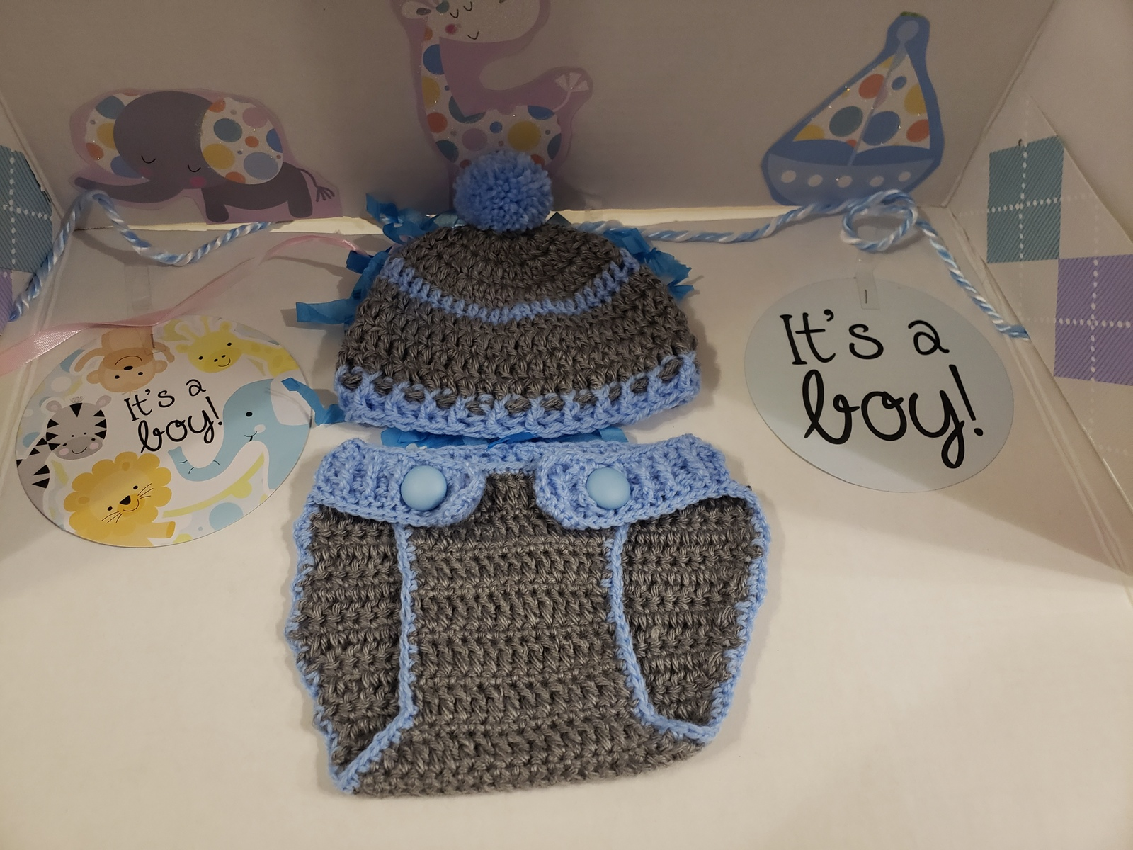 Handmade Crochet  Diaper Cover & Hat Set (3-6 months) Blue/Gray