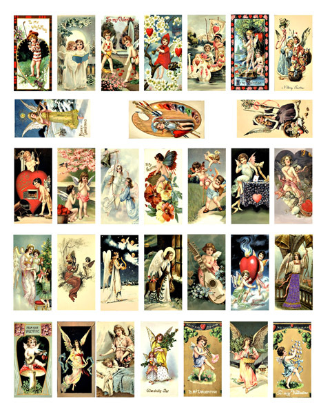 "angels cherubs vintage art clipart domino collage sheet download 1"" x 2"" inch"