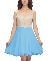 Short Chiffon Homecoming Dress Beaded Formal Dress Prom Dress Blue for G... - $136.00