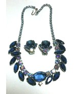 VINTAGE JULIANA RHINESTONE MIDNIGHT BLUE  & AURORA BOREALIS NECKLACE & E... - $125.00