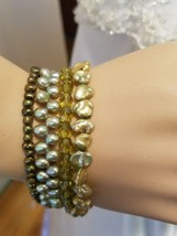 Real pearls bracelet 4 strands 3 strands of pearls very pretty - $16.82