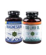 100 Capsules | Magnesium Citrate | 130 Softgel COD Liver OIl | EPA | DHA... - $90.08