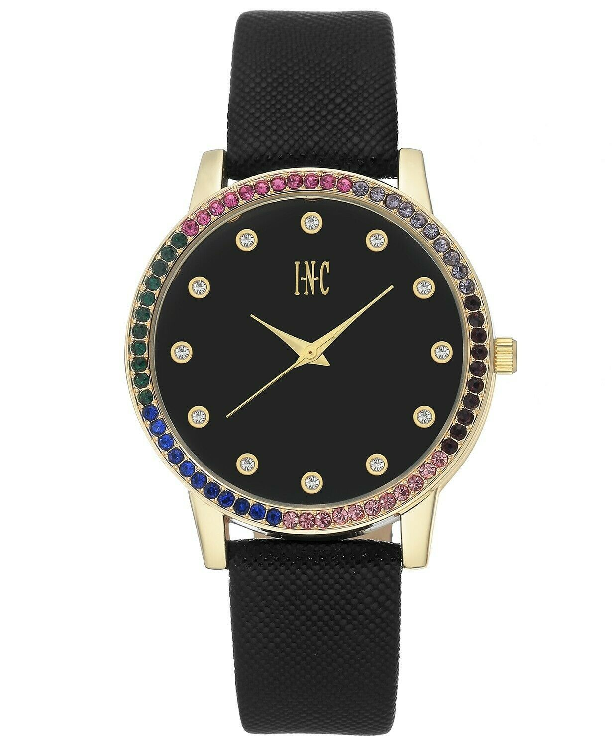 I.N.C. Women's Black Faux Leather Strap 38mm Watch with Interchangeable Bezels