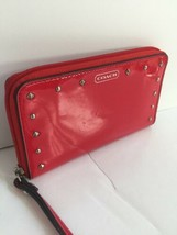 Coach Wallet Studded Liquid Gloss Universal Patent Leather Red F68609 W34 - $49.49