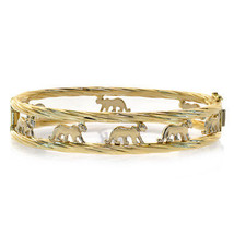 Walking Panther Cat Bangle Bracelet 14K Yellow Gold - $1,464.21