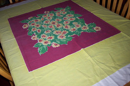 Vintage floral chartreuse startex tablecloth with cloth tag - $25.00