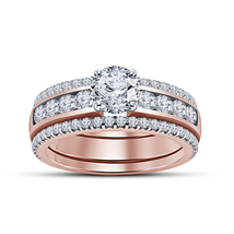 14k Rose Gold Plated 925 Silver Engagement Ring Set Round Cut White Sim Diamond - $129.60