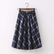 Retro Plaid A-Line Winter Women Pleated Midi Skirts - $30.00