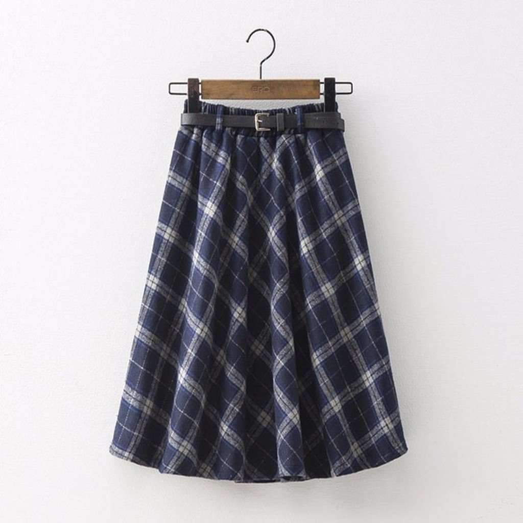 Less midi skirts one size blue retro plaid a line winter women pleated midi skirts 1407372460063