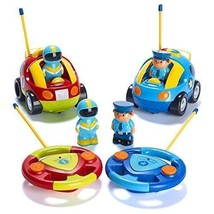 Prextex Pack of 2 Cartoon R/C Police Car and Race Radio Control Toys for... - $68.14