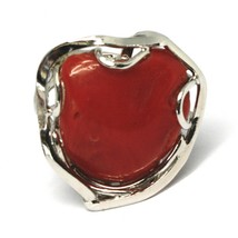 ANNEAU EN ARGENT 925, CORAIL ROUGE NATUREL SWEETHEART, CABOCHON, MADE IN ITALY image 2