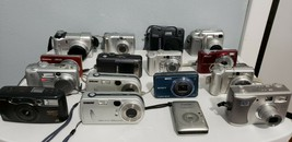 [Lot of 16] Point-and-Shoot Cameras (Sony/Canon/Nikon/Etc) For Parts/Repair - $33.24