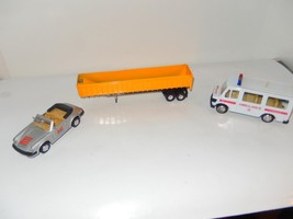 THREE DIECAST- AMBULANCE /. PORSCHE / OPEN TRAILER- GOOD- W21 - $3.42