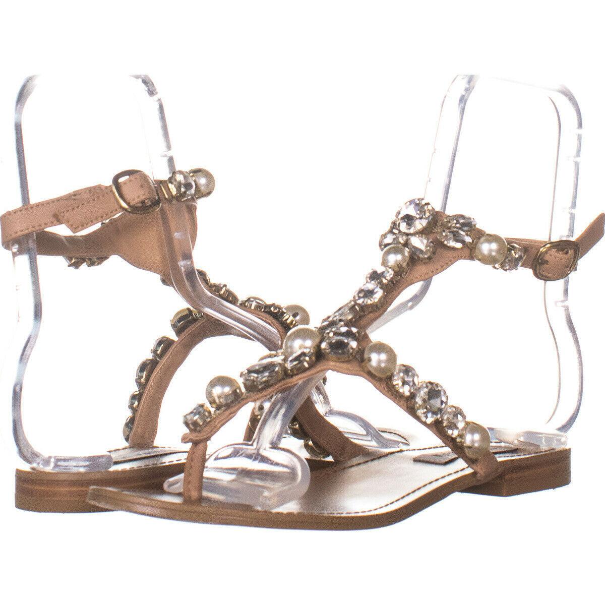 Steve Madden Chantel Flat Ankle Strap Sandals, Blush Multi 115, Blush Multi, 7