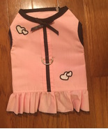 Dog Dress Pink with Black Trim & Hearts Size  X Small - $9.99