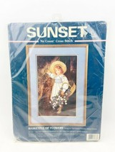 "Vintage Sunset Dimensions Cross Stitch Kit ""Basketful of Flowers"" #13936 1997 - $29.99"