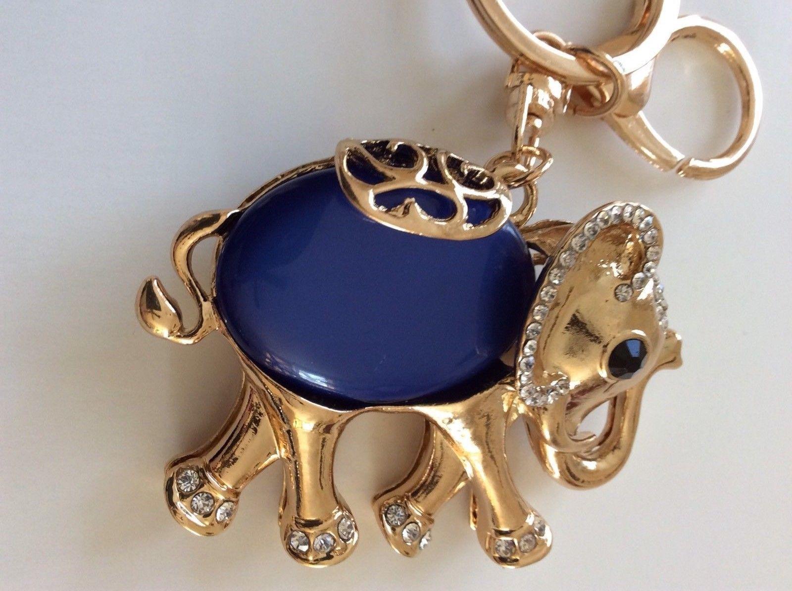 Elephant Blue Gold Tone Rhinestones Keychain Keyring Purse Pendant Handbag