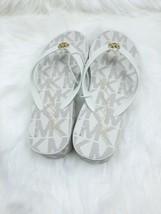 Michael kors wedge sandals mk logo vanilla size 7 - $33.24