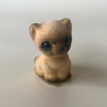 "Kitten Cat Josef Original Japan Figurine Flocked Vintage 1.5"" Disney Blue Eyes - $13.00"