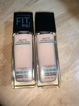 X2 Maybelline Fit Me Matte + Poreless Liquid Foundation #105 FAIR IVORY NEW - $14.84