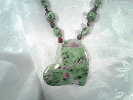 Beaded Necklace Ruby Zoisite Garnet Ruby Zoisite Heart Pendant Handmade 448 - $90.00