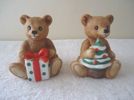 "Vintage Homco # 5505 Set Of 2 Sitting Christmas Bears "" Beautiful Collectibles "" - $18.69"