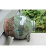 "Pottery Bird Bottle House Green & Brown Clay Glazed 1.5"" Opening - Handm... - $35.00"