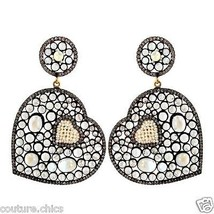 Moonstone 925 Silver Pave 2.35ct Diamond Pearl Gemstone Dangle Earrings 14k Gold - $690.54
