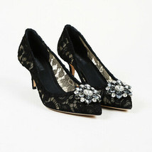 Dolce & Gabbana Lace Crystal Pointed Pumps SZ 40 - $435.00