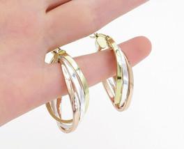 JACMEL 925 Sterling Silver - Shiny Smooth Three Tone Oval Hoop Earrings ... - $37.40