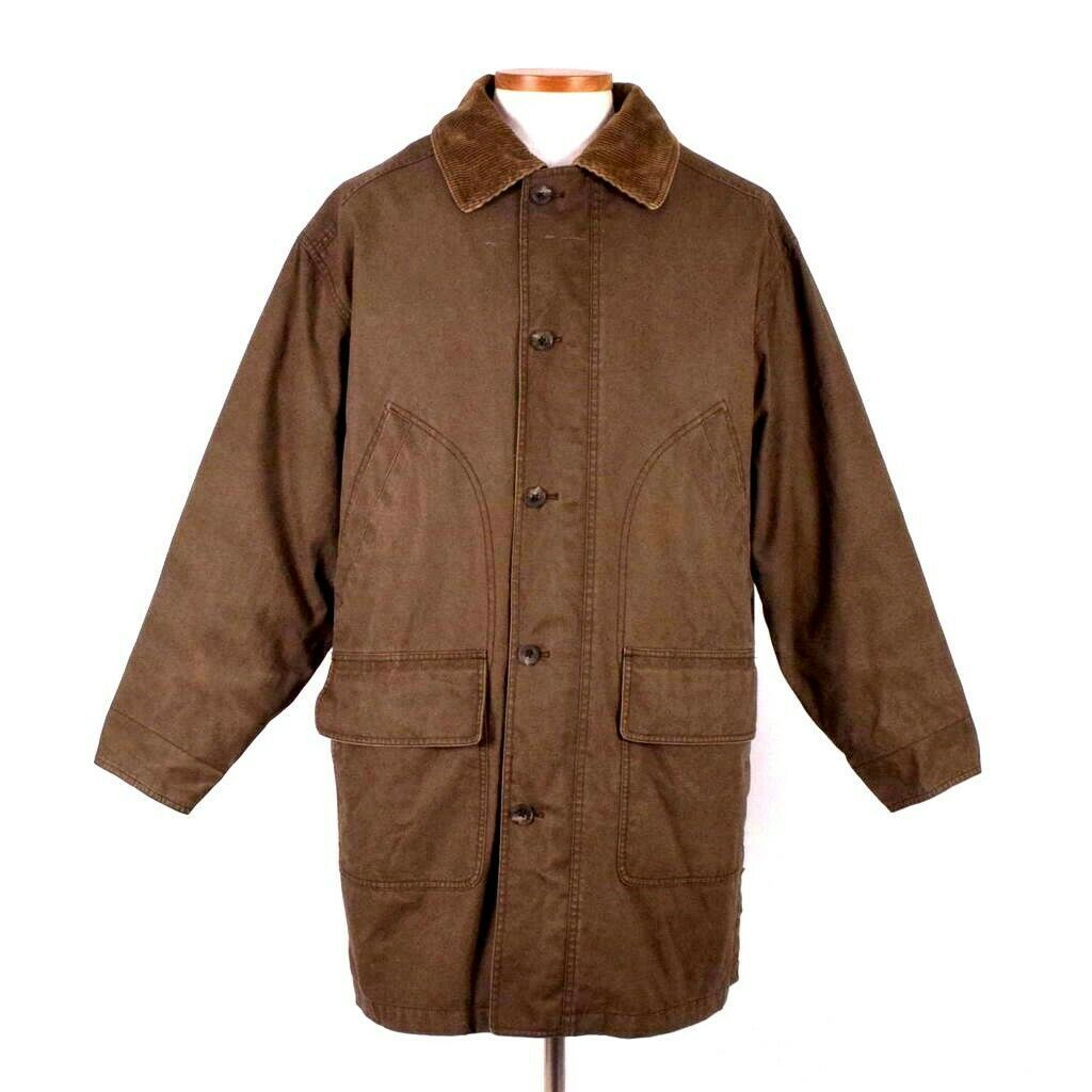 Primary image for Eddie Bauer Legends Olive Field Coat Trench Jacket Mens M Removable Wool Liner