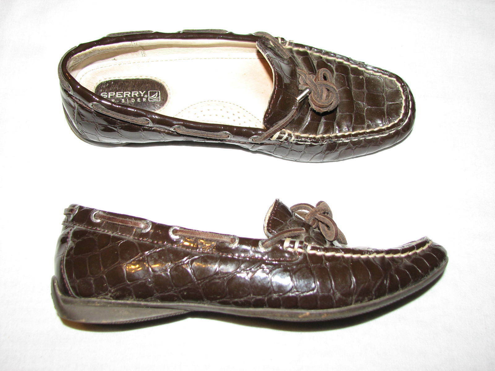 Sperry Top Siders 6 M Brown Patent Leather Boat shoes Flat loafers women Croc 6M - $19.99