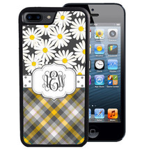 MONOGRAMMED RUBBER CASE FOR LG G6 G5 G4 G3 DAISY GRAY YELLOW PLAID POLKA... - $12.98