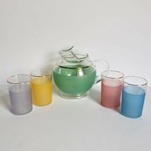 Blendo Frosted Glass Juice Set 5 Pieces Pastel Colors Mid Century Modern... - $65.00