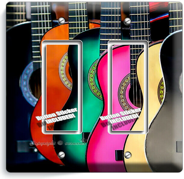 COLORFUL ACOUSTIC GUITARS 2 GFCI LIGHT SWITCH WALL PLATE MUSIC STUDIO ROOM DECOR