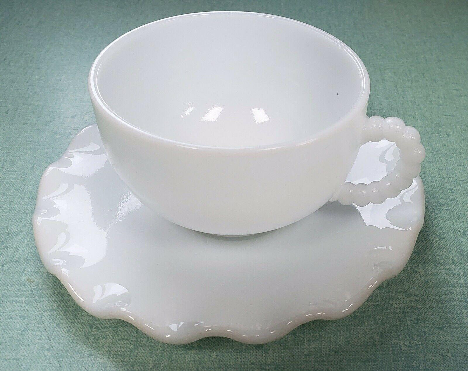 Hazel Atlas Ripple White Crinoline Cup And Saucer - $17.82