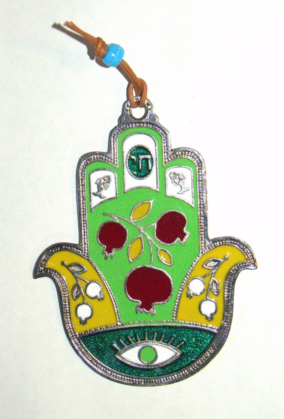 Judaica Kabbalah Hamsa Green Red Enamel Wall Hang Evil Eye Hai