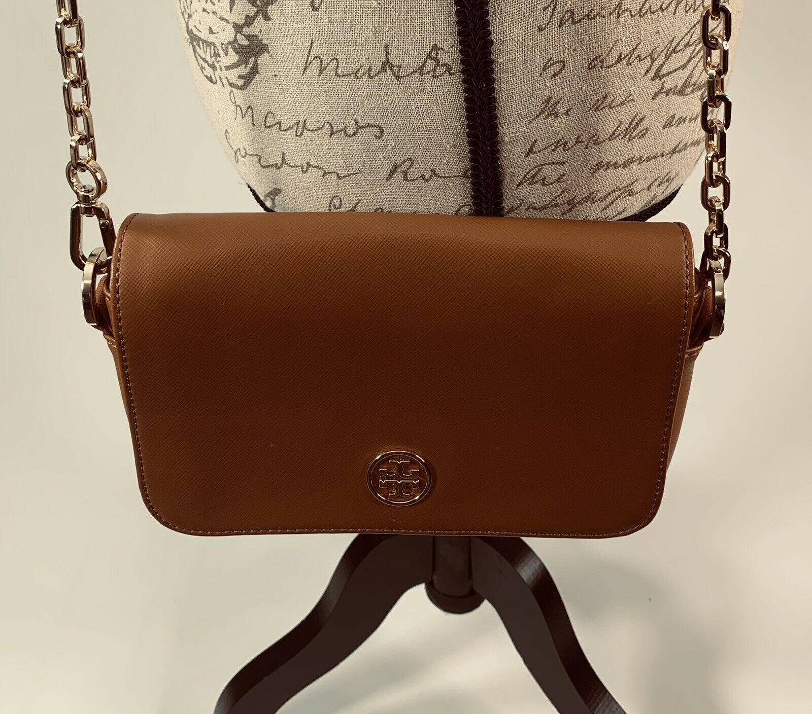 Tory Burch Robinson Chain Strap Tiger's Eye Brown Leather Crossbody Bag