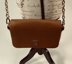 Tory Burch Robinson Chain Strap Tiger's Eye Brown Leather Crossbody Bag - $149.24