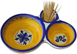 Ceramic Olive Dish from Spain. Fiesta Yellow Pattern - $43.86