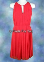 J Crew Women's Pleated Chiffon Sleeveless Red Dress Sz 12 46157 - $36.79