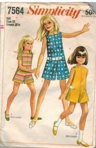 7564 Vintage Simplicity Cartamodello Ragazze Abito Gonna Pantalone Pullover Oop - $9.97